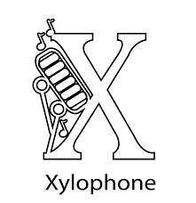 X For Xylophone Alphabet Coloring Pages