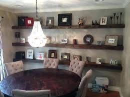 Shelves In Dining Room Rustic With Crystal Chandelier Over Round Table And Long 3 Tiers Reclaimed