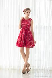red lace short women cocktail gowns lady big girls back to