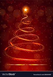 Christmas Tree With Bright Star On Red Background Vector Image