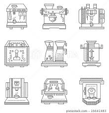 Professional Coffee Machine Flat Line Vector Icons