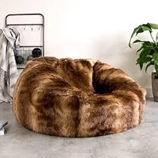 ICON Extra Large Luxury Sofa Faux Fur Bean Bag Chair Giant Luxurious Furry Beanbag Seat