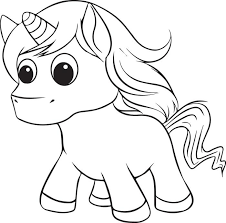 Cute Unicorn Coloring Page For Kids