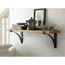 Threshold Floating Shelves With Brackets And Natural Wood Material