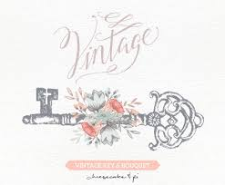 Vintage Key With Floral Bouquet Clipart Wedding Invitation Clip Art Graphics Commercial Use Rustic Antique CM0062b
