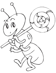 Ant Holding Lollipop Coloring Page