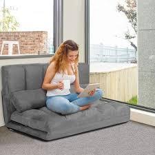 costway schlafsofa mit 2 kissen sofabett mit 6 stufig verstellbarer ruecklehne lazy sofa klappbar bodensofa fuer schlafzimmer wohnzimmer und