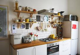 Eclectic Kitchen In White Apartment That Look Colorful With Hanging Cooking Appliance