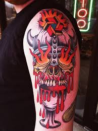 Fire Eyes Viking Scull New School Tattoo On Shoulder