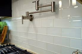 white glass subway tile kitchen modern with backsplash bright