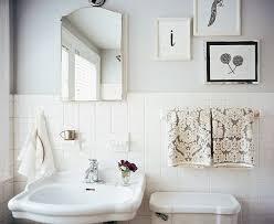 bathrooms white gray damask towels vintage white pedestal
