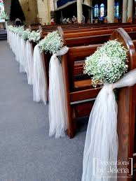 Babies Breath And Blush Tulle Wedding Ceremony Pew End Decorations Our Lady Of Victories In New South Wales By Jelena Sydney Australia