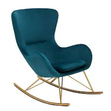 invicta interior design schaukelstuhl scandinavia swing türkis samt gold schaukelsessel sessel stuhl relaxsessel samtmöbel