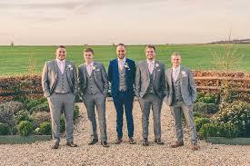 Grey Navy Suits Groom Groomsmen Blush Pink Rose Gold Barn Wedding