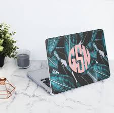 Personalised Tropical Palm Tree Leaf Pink Custom Monogram Initials  Protective Hard Case Cover For Macbook | C046