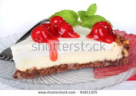 Closeup of a slice of cherry cheesecake on a white background