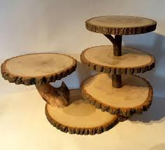 Large Tree Slice Cupcake Stand Rustic Wedding Dessert Display Cake