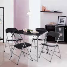 Black IKayaa 5PCS Foldable Kitchen Patio Dining Room Table Chairs Set -  LovDock.com