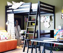 Black Metal Ikea Loft Bed With Colorful Polkadot Cover Bed Also