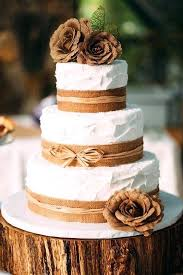 Cakes With Burlap Rustic Country Themed Wedding Cake