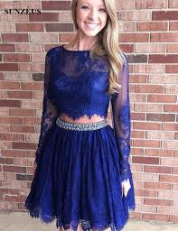 royal blue 2 piece long sleeve homecoming dresses open back