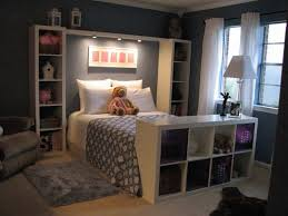 Instead Of A Headboard Place Bookshelves To Frame The Bed Add Lights For Late Night Reading This Would Be Great Guest Bedroom
