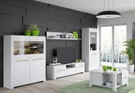wohnwand wohnzimmer set weiß hochglanz vitrine couchtisch hängeregal tv lowboard ohne beleuchtuing