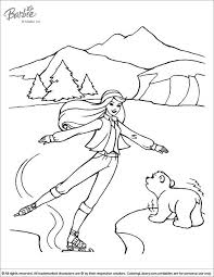 Barbie Coloring Page Is Having Fun Ice Skating