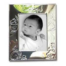 cadre photo naissance en métal argenté personnalisé