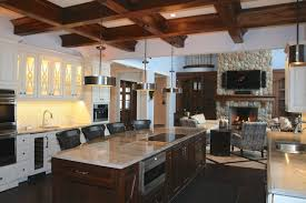 Large Kitchen Island Ideas Be Equipped With Marble Contemporary Black Net Seating Along White Cabinet Sink Oven And