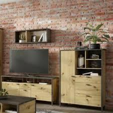 details zu wohnwand set wohnkombi mediawand anbauwand tv wand holz wohnzimmer industrial