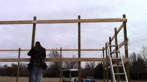 How to Build a Pole Barn Installing sidewall purlins