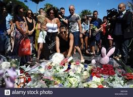 Nice France 15th July 2016 People Lay Down Floral Tributes Near The Scene In 15 Where A Truck Drove Into Crowd During