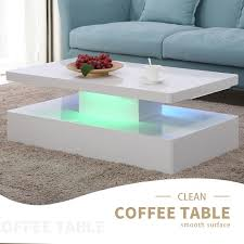 100 Living Room Table Modern Details About High Gloss White LED Coffee W Remote Control Furniture