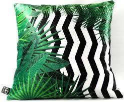 casa padrino luxus kissen orlando palm leaves schwarz weiß grün 45 x 45 cm feinster samtstoff deko wohnzimmer kissen