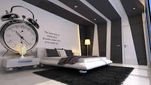 wandbemalung ideen schwarz weiss schlafzimmer wecker gross