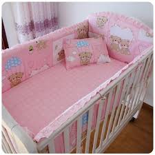 Promotion 6PCS Pink Bear baby girls bedding products bed linen