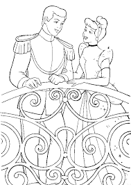 Cinderella And Prince In Balcony Coloring Page