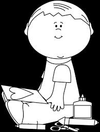 little boy clip art black and white
