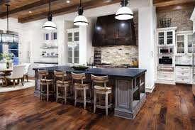 Contemporary Country Kitchen With Rustic Island