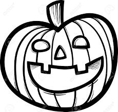 Black And White Cartoon Illustration Spooky Halloween Pumpkin