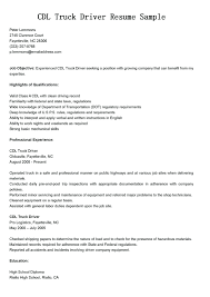 Resume: Truck Driver Resume Examples
