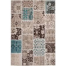 vintage teppich patchwork türkis beige wohnzimmer loft teppich modern 160cm x 230cm