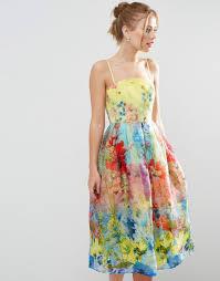 image 1 of asos salon cami strap floral organza midi prom dress
