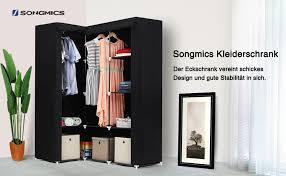 songmics neu generation eck kleiderschrank faltschrank 2 kleiderstangen stoffschrank 129 x 169 x 87 cm schwarz lsf42h