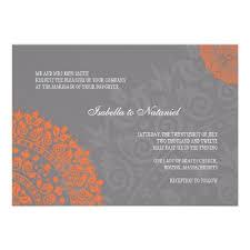 Charcoal Gray and Orange Damask Wedding Invitation
