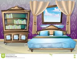 cartoon bedroom with sofa pillows and floor l stock vector