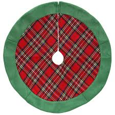 24 Red And Green Plaid Christmas Tree Skirt With Felt Border