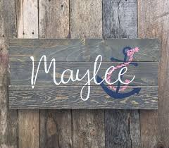 Custom Nautical Nursery Pallet Wood Sign With First Name Anchor Byhand Calligraphy