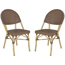 Safavieh FOX5203A-SET2 Home Collection Barrow Indoor/Outdoor Stacking Side  Chair, Set Of 2, Brown